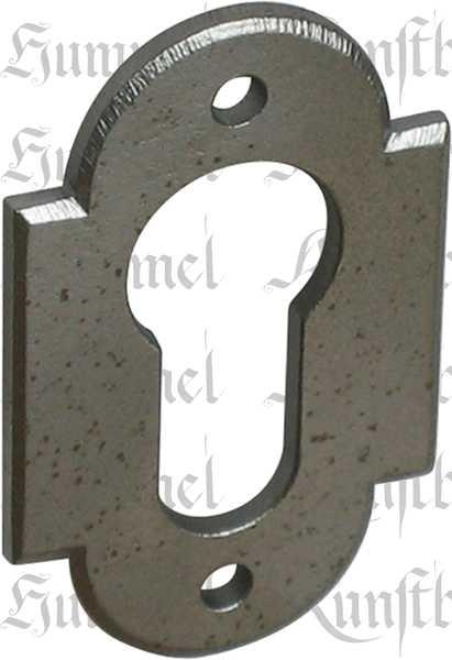 PZ-Türrosette für Rosettengarnitur antik, Eisen altgrau. Im Konfigurator auch in Eisen geschmiedet bestellbar