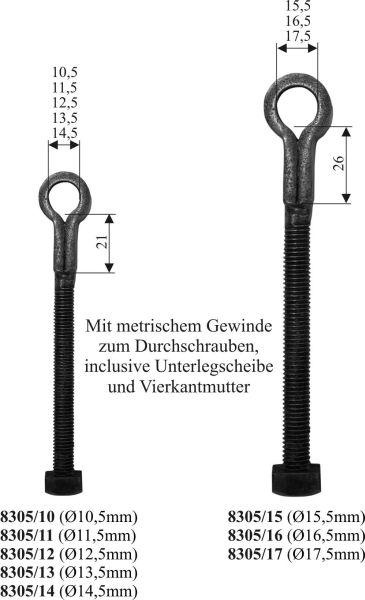 Schlaufe mit metrischem Gewinde für Ladenband, zum durchschrauben für Kloben, Eisen handgearbeitet, schwarz, Innendurchmesser 10,5mm Bild 3