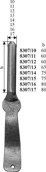Kloben schmiedeeisen, Eisen handgearbeitet, schwarz, Bolzendurchmesser 10mm, Stützkloben antik für Türbänder., Türangel, Türangeln Bild 3