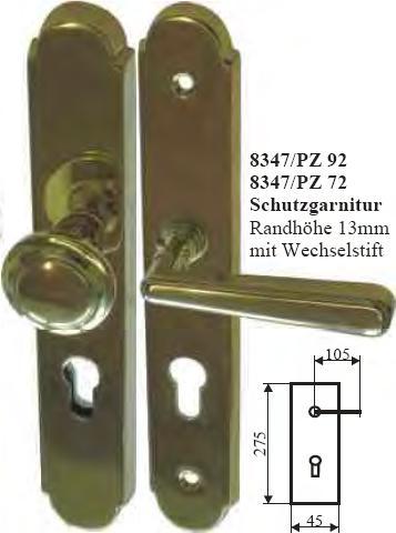 Drückergarnitur antik, Jugendstil Schutzgarnitur, Haustürgarnitur mit Wechsel, PZ 72 Bild 3