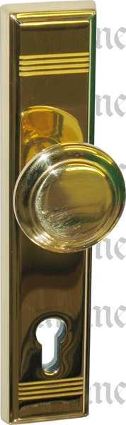 Schutzgarnituren, Haustür-Garnituren, Jugendstil Türdrückergarnituren antik, Wechselgarnituren Messing gegossen, poliert lackiert, PZ 72