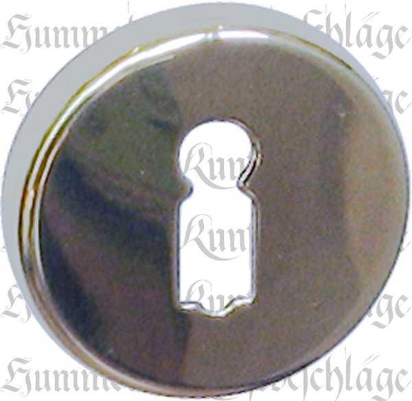 BB-Schlüsselrosette, Messing gegossen, glanzverchromt