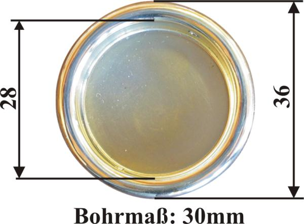 Schiebetürmuschel rund, Messing poliert unlackiert, Innen-Ø: 30mm, Außen-Ø:36mm Bild 3