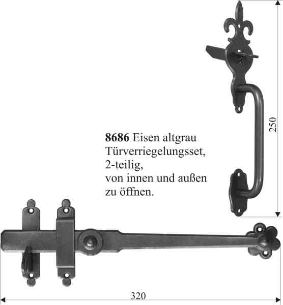 Türverriegelungsset alt, Eisen geglüht, matt klar lackiert. Aus Blech handgefertigt. Bild 3