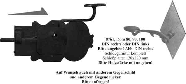 t rschloss historisch antik zimmert rschlossgarnituren eisen schwarz din links dornma 90mm. Black Bedroom Furniture Sets. Home Design Ideas