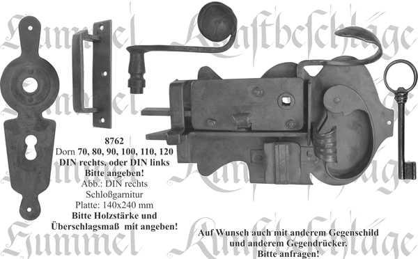 Zimmertürschlossgarnitur in Eisen schwarz, DIN rechts, Dornmaß: 100mm, antike Türschlösser alte Bild 2