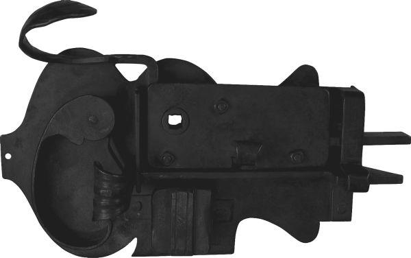 Zimmertürschlossgarnitur Eisen schwarz, DIN links, Dornmaß: 100mm, antike Türschlösser alte