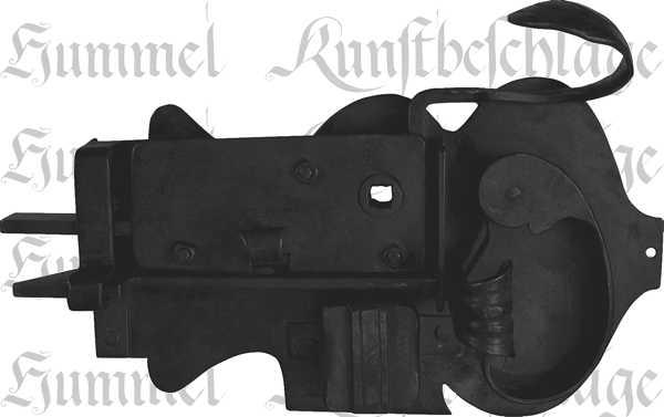Zimmertürschlossgarnitur in Eisen schwarz, DIN rechts, Dornmaß: 100mm, antike Türschlösser alte