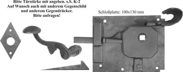 Türschlösser alt, antik, Zimmertürschlossgarnitur Eisen schwarz, DIN rechts, Dornmaß: 70mm Bild 2