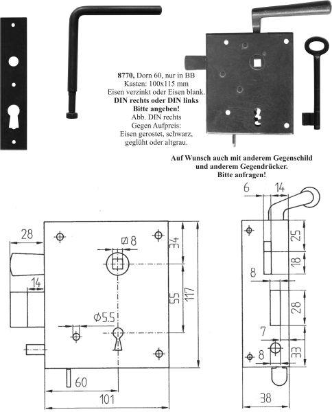 Zimmertürschlossgarnitur, Kastenschloss Buntbart, Mauskastenschloss, Eisen blank, DIN rechts, einwärts, Dornmaß: 60mm, hebende Falle, Nachtriegel Bild 3