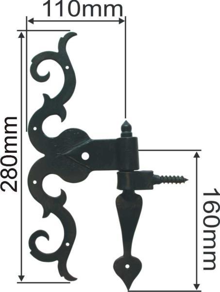 Türband mit Kloben, Torband antik alt, historische antike Türbänder für Zimmertüren und Haustüren, Eisen matt schwarz lackiert, Höhe: 300mm Bild 3