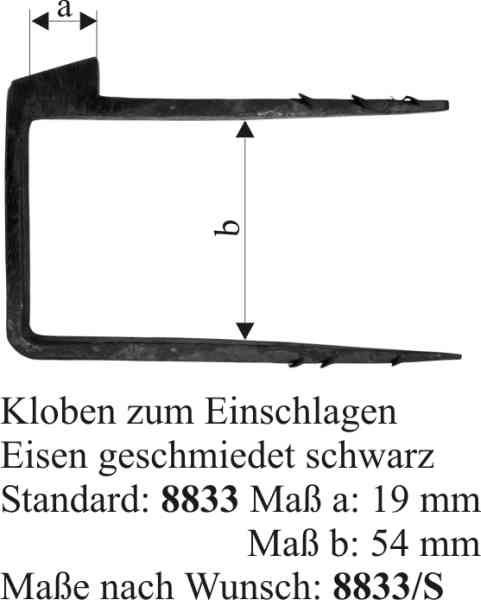 Schließkloben für Kastenschloss zum Einschlagen, Eisen matt schwarz lackiert Bild 3