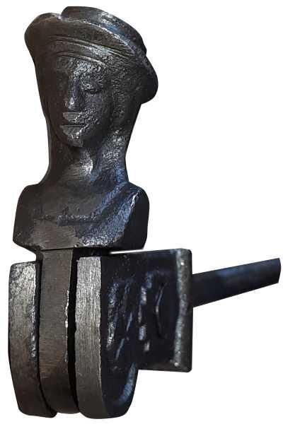 Ladenhalter Frauenkopf Fensterladenhalter Feststeller Rückhalter alt, Eisen roh Bild 2