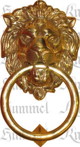 Türklopfer antik, Löwenkopf alt, Löwenklopfer, aus Messing gegossen dann poliert