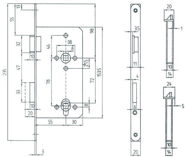 Einsteckschloss für Eingangstür, PZ 72mm, DIN links Bild 3