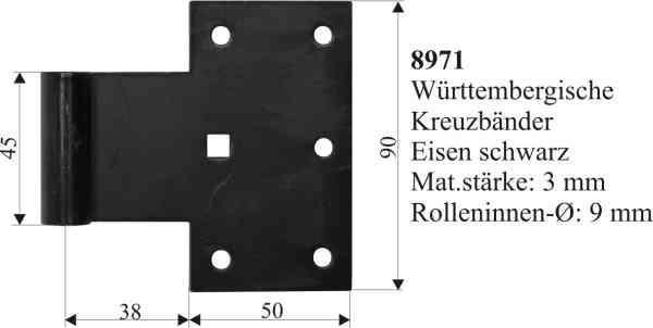 Württembergisches Kreuzband, galvanisch verzinkt, schwarz, Fensterladenscharnier alt, Fensterladen Scharnier antik Bild 3