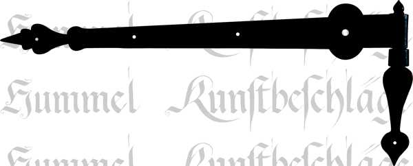 Türband antik lang, Langband mit altem Kloben, Eisen schwarz, Türscharniere antike für Altbau historisch