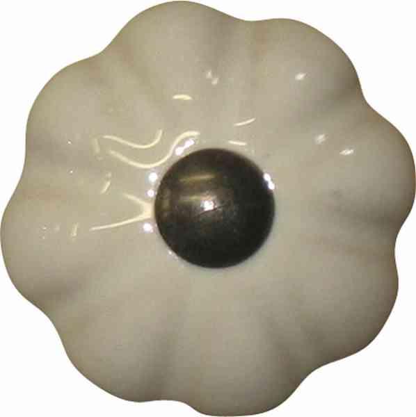Möbelknopf Porzellan, für Landhaus, Porzellanknopf, Ø 36 mm, altweiß, patiniert, mit altvermessingtem Sockel und Schraube, Möbelknopf Keramik