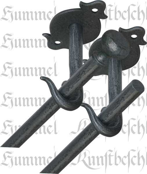 Zweiläufige Vorhangstange, Gardinenstange für Deckenmontage, Eisen geschmiedet altgrau, 65cm Bild 2