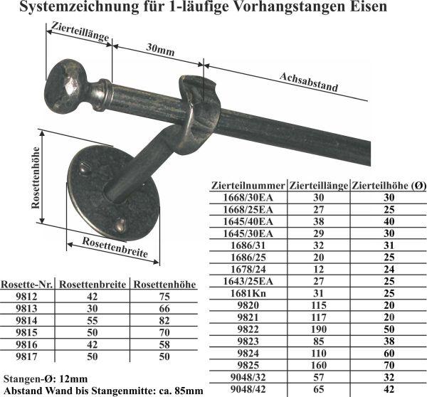Einläufige Vorhangstange schmiedeeisen Landhaus, Gardinenstange nostalgisch, Eisen geschmiedet altgrau, 60cm Bild 3