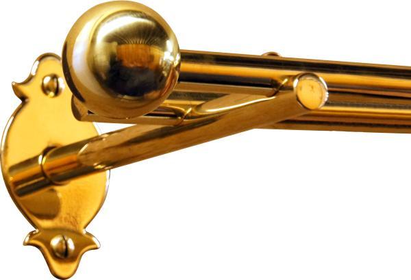 Zweil ufige vorhangstange gardinenstange in messing poliert unlackiert f r normale wandmontage - Gardinenstange wandmontage ...
