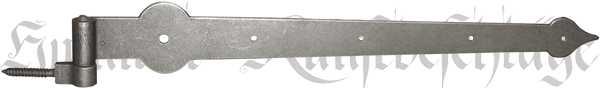 Torband in Eisen altgrau, nostalgisches Türband, alt, antikes Langband mit Kloben aus Eisen, Beschläge historisch