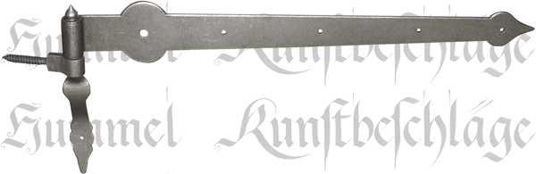 Torbänder in Eisen altgrau, nostalgisches Türband, alt, antikes Langband mit Stütz-Kloben, Beschläge historisch