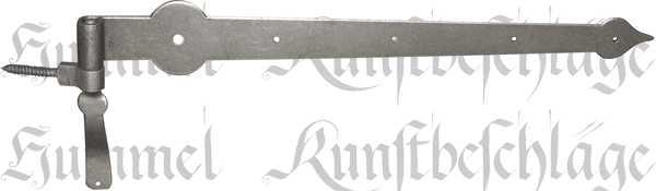 Türband Eisen altgrau, alt, antikes Langband mit Stützkloben aus Eisen, Beschläge historische