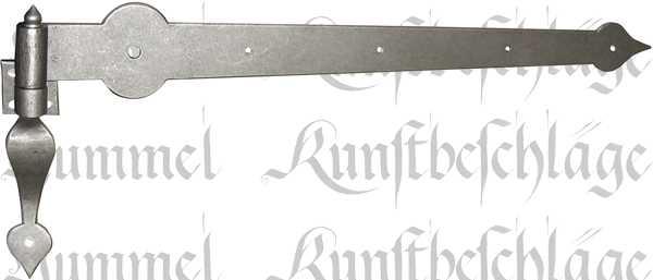 Torband altgrau, nostalgisches Türband, alt, antikes Langband mit verstärktem Stützkloben aus Eisen, Beschläge historisch