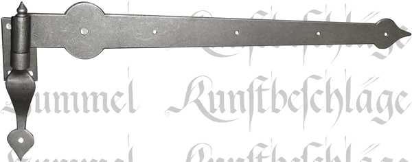 Eisen altgrau Türband, alt, antikes Langband mit  verstärktem Stützkloben, Türbeschläge historisch