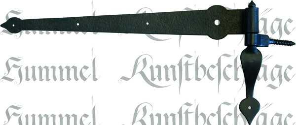 Torband schwarz, nostalgische Türbänder, alt, antikes Langband mit Kloben aus Eisen, Beschläge historisch