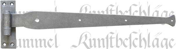 Altes Türband mit Plattenkloben, rustikale Türbänder, alte, antikes Langband aus Eisen altgrau