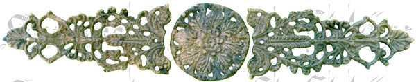 Messingapplikation antik, auf alt patiniert, 3-teilig
