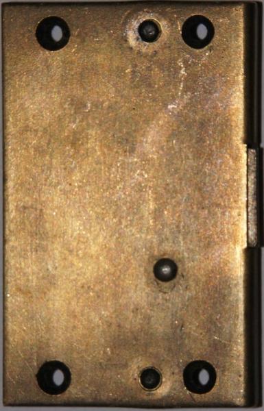 Einlaßschloß rechts, altvermessingt, Dorn 17mm, mit Schlüssel