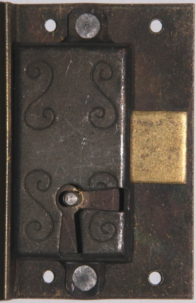Einlaßschloß rechts, altvermessingt, Dorn 17mm, mit Schlüssel Bild 3
