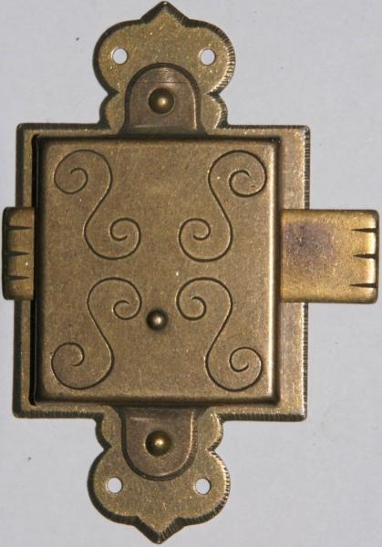 Vitrinenschloss ohne Stulpe, Eisen altvermessingt mit Schlüssel, Dorn 30mm, rechts und links verwendbar, mit Schlüssel.