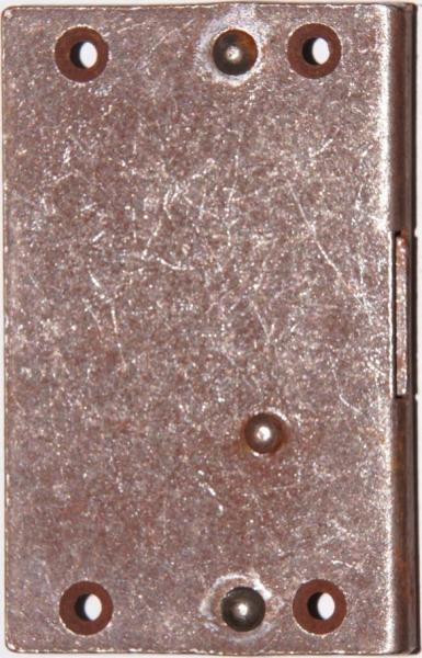 Einlaßschloß rechts, Eisen gerostet, Dorn 17mm, mit Schlüssel