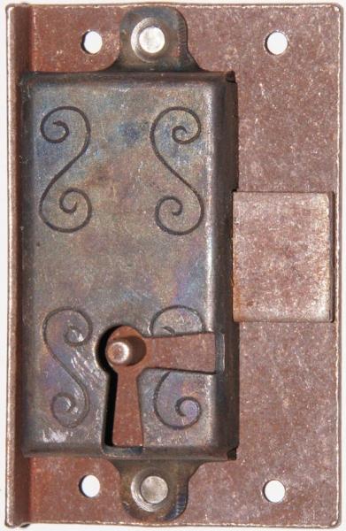 Einlaßschloß rechts, Eisen gerostet, Dorn 17mm, mit Schlüssel Bild 3