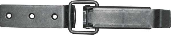 Kistenverschluss in Eisen altgrau, 2-teilig. Aus Blech gestanzt. Blech 25mm breit.