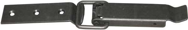 Kistenverschluss in Eisen altgrau, 2-teilig. Aus Blech gestanzt. Blech 25mm breit. Bild 2