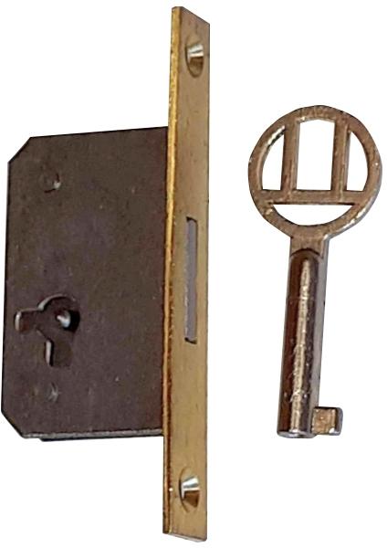Einsteckschloß, Dorn 15mm, links, mit Messingstulpe und vernickeltem Schlüssel