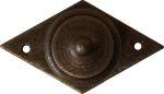 Möbel Griffe antik, Knopf Ø 20mm, mit Rosette, Eisen gerostet und gewachst, kleine Raute mit Möbelknopf