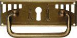 Griffbeschlag mit Schlüsselloch, Jugendstil Griff antik, Schubladengriffe antik, Messing patiniert