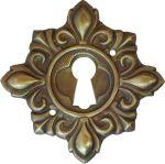 Schlüsselschild, Messing gestanzt, geprägt und schön antik patiniert