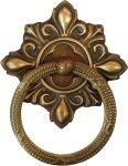 Ring mit Rosette, Messing gestanzt, geprägt und schön antik patiniert