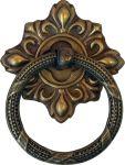 Ring mit Rosette, aus Messing gestanzt, geprägt und schön antik patiniert