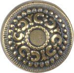Messingknopf antik Gründerzeit, Ø 21mm Möbelknopf mit Rosette aus Messing patiniert. Aus Blech gestanzt und geprägt.