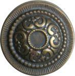 Messingknopf alt Gründerzeit, Möbelknopf Ø 29mm mit einer Rosette, Messing patiniert. Aus Blech gestanzt und geprägt.