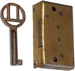 Mini-Schloss, Messing geschliffen, mit vernickeltem Schlüssel, Dorn 10mm links