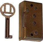 Mini-Schloss, Messing roh, mit vernickeltem Schlüssel, Dorn 10mm links